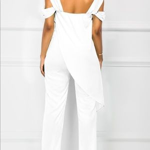 322a42a0f75 rosewe Pants - Solid White Overlap Open Back Jumpsuit